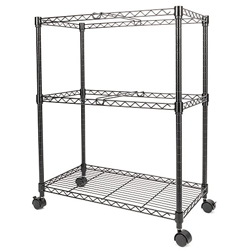 FCH 2-Tier Metal Rolling File Cart Portable File Cart for Letter Size and Legal Size Folder with 4 Rolling Wheels Black by FCH