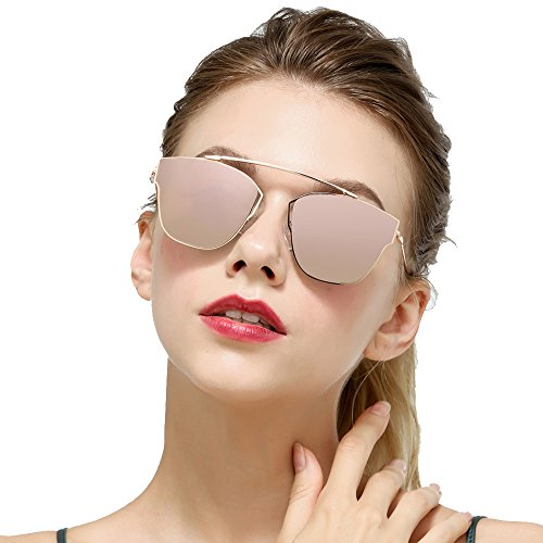 Cat Eye Mirrored Flat Lenses Ultra Thin Light Weight Metal Frame Women Sunglasses - Thin For Glasses Long Frames Face