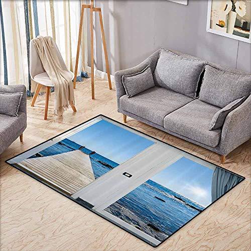 Indoor/Outdoor Rug,Beach Theme Decor,Coastal Decor Ocean Sea Sunny Scenery with Patio from Window,Anti-Slip Doormat Footpad Machine Washable,4'7