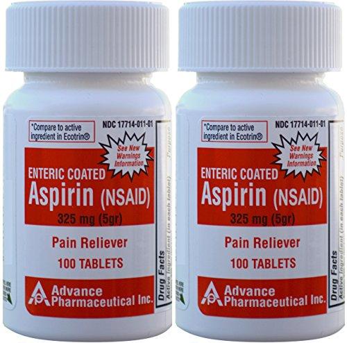 - Aspirin Adult Regular Strenght Enteric Coated 325 mg Generic for Ecotrin Bayer Aspirin 100 Tablets per Bottle Pack of 2 Bottles Total 200 Tablets
