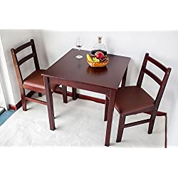 Natural Wood 3-piece Dining Sets,2 Person Dinning Table and Cushion Seat Dinning Chairs - Red Brown