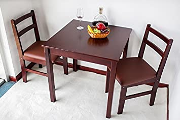 Amazon.com - Natural Wood 3-piece Dining Sets,2 Person Dinning ...