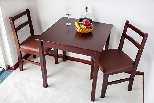 Save 7 natural wood 3 piece dining sets 2 person dinning table and cushion seat dinning - Two person dining table set ...