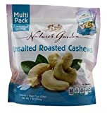 Natures Garden Roasted Unsalted Cashews Single Serve 1oz Bags, Pack of 7