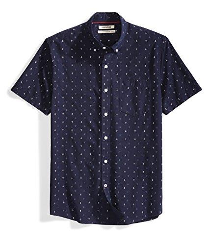 Goodthreads Men's Standard-Fit Short-Sleeve Printed Shirt, Navy Ground Anchor Printed, Medium by Goodthreads