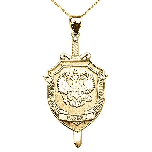 Collier Femme Pendentif 10 Ct Or Jaune Russe Fédéral 'Naya Sluzhba Bezopasnosti (Fsb )-Fédéral Sécurité Service Logo (Livré avec une 45cm Chaîne)