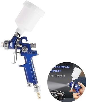 mini pistolet de pulv/érisation de peinture /à air HVLP /à alimentation par gravit/é bleue HVLP basse pression 0,8 mm Pistolet de pulv/érisation dhuile de moteur