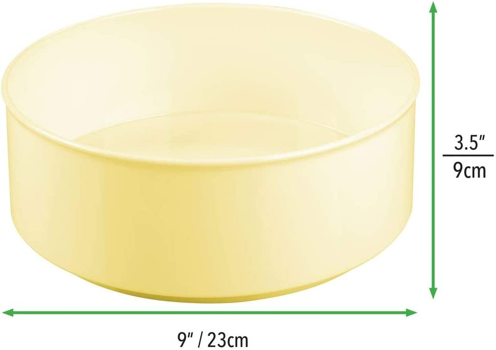 Stylish Storage Space for Baby Equipment like Bottles and Dummies mDesign Rotatable Storage Tray for Toys Light Yellow Round Nursery Storage Made of BPA-free Plastic and Stainless Steel