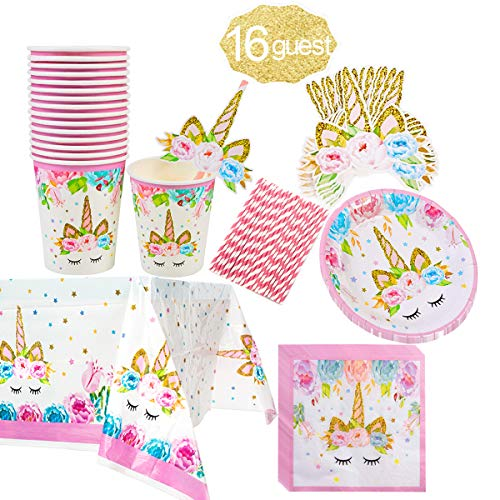 Unicorn Themed Party Supplies Set,Unicorn Cake Plates,Cups,Napkins,Tablecloth,Straws&Decoration,Paper Disposable Tableware Set for Girls Children Birthday Party or First ,Baby Shower, Serves 16 -