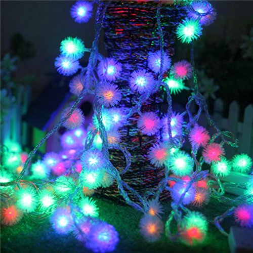 Lucoo Outdoor String Lights, Fairy Ball Dimmable Remote Ball, Battery Powered Shaped Curtain Lamp Starry String lights for Garden,Christmas Tree, Party Wedding Outdoor Decor Parties (Multicolor)