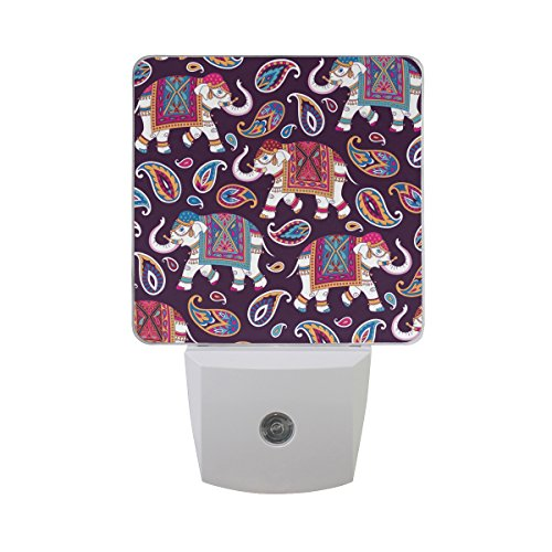JOYPRINT Led Night Light Tribal Floral Paisley Elephant, Auto Senor Dusk to Dawn Night Light Plug in for Kids Baby Girls Boys Adults Room by JOYPRINT