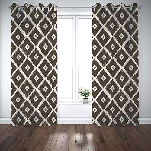 Yaoni Thermal Insulated Grommet Blackout Curtains,Ethnic,Tribal Square Diamond Shaped Abstract Aztec Folk Historical Culture Decorative,Plum Marigold White,2 Panel Drapes for Living Room,Bedroom