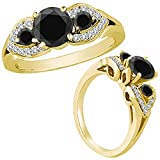1.50 Carat Black Diamond Fancy Three Stone Engagement Wedding Bridal Women Ring 14K Yellow Gold