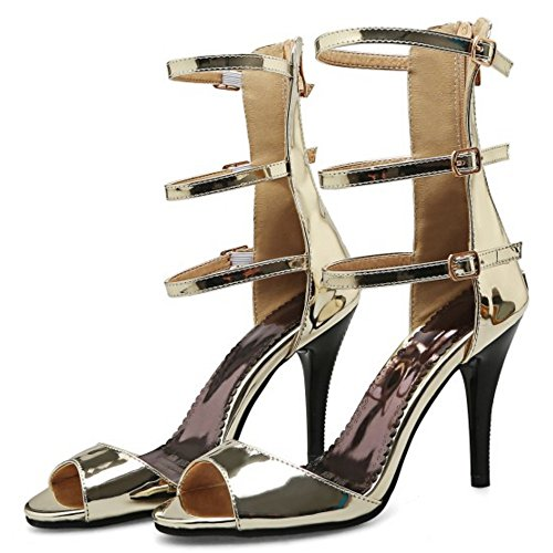 Sandals with High Gold Shoes TAOFFEN Heel Elegant Thin Gladiator Women Zipper n8wxt7qtAX