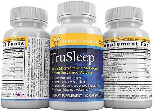 Nordic Clinical – TruSleep – MicroActive Melatonin – Sleep Supplement – Filters Out Blue Light – Reduces Eye Strain – Non-Habit Forming – 60 Capsules