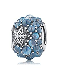 Soulove Oceanic Starfish with Frosty Mint CZ 925 Sterling Silver Bead for Snake Chain Charm Bracelet