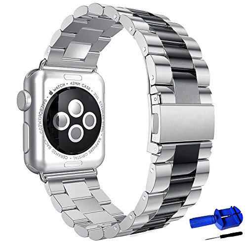 Silver With Black Stainless Steel Band - HUANLONG Apple Watch Band, Latest Solid Stainless Steel Metal Replacement 3 Pointers Watchband Bracelet with Double Button Folding Clasp for Apple Watch Iwatch (silver/black 42mm)