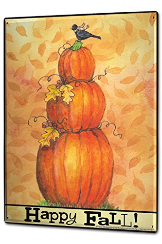 Tin Sign XXL Retro Joyful Autumn Pumpkins (Joyful Pumpkin)