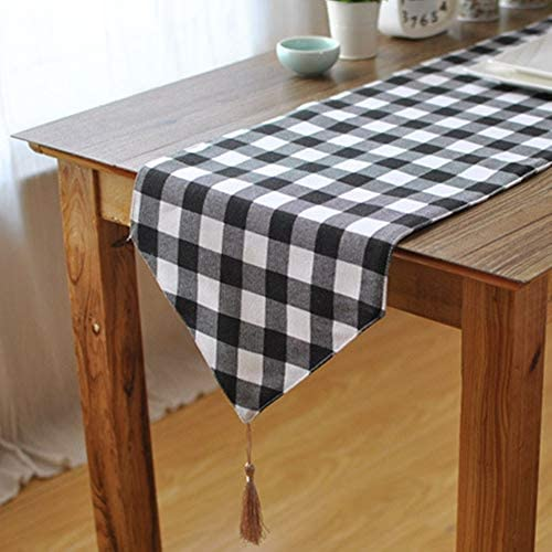 テーブルランナー シンプルでスタイリッシュなダイニングチェック柄のテーブルランナーマットブラックとホワイトホームホテル おしゃれ テーブルフラグ (Color : White, Size : 30x140cm)