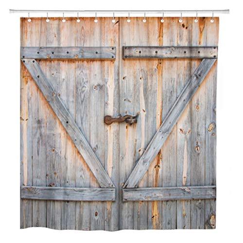 Rustic Wooden Barn Door Shower Curtain Bedroom Decor Waterproof Fabric Hooks Set