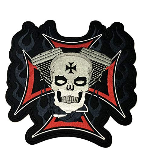 Iron Cross Skull Embroidered Large Back Patch Angel Devil Motorcycle Biker Club Series Jacket Vests Ghost Hog Outlaw Rocker Jumbo Iron or Sew-on Emblem Badge Appliques Application Fabric Patches
