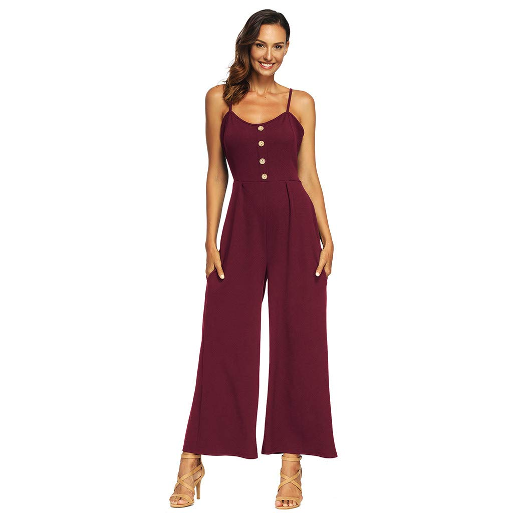 Women Fashion Casual Solid Bow Strap Backing Jumpsuits Rompers with Buttons