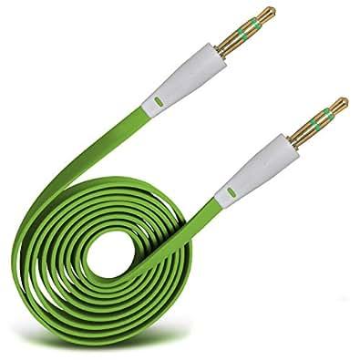 (Green) 3.5mm Jack a jack Plomo cable plano AUX Cable de audio auxiliar For LG Nexus 4 E960 By Spyrox