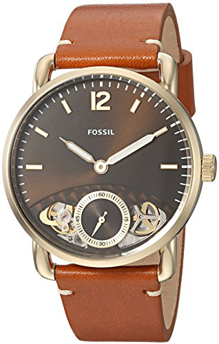 Fossil Men's The The Commuter Twist Stainless Steel Quartz Watch with Leather Calfskin Strap, Brown, 22 (Model: ME1166)