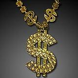 Gold Big Bling Dollar Sign Novelty Necklace (Set of 12)
