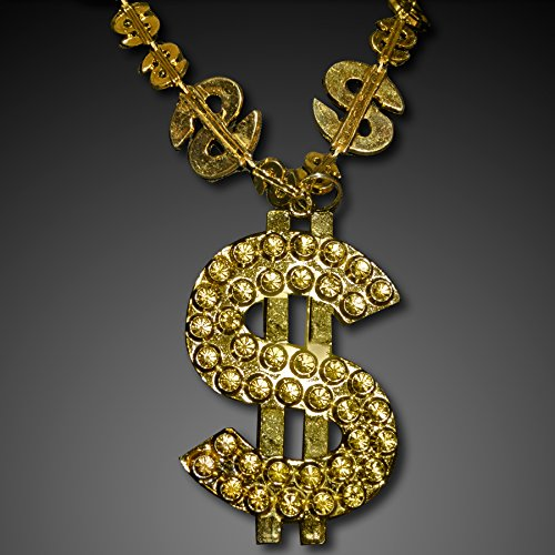 Gold Big Bling Dollar Sign Novelty Necklace (Set of 12)