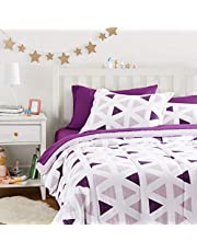 Amazon Basics Kid's Bed-in-a-Bag - Soft, Easy-Wash Microfiber - Full/Queen, Purple Triangles