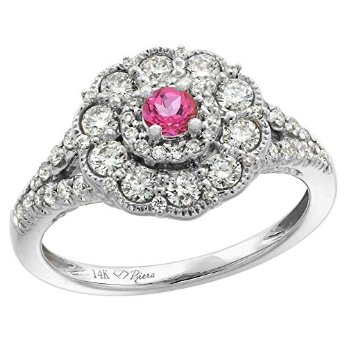 (14k White Gold Diamond Genuine Pink Topaz Flower Halo Engagement Ring Round Brilliant cut 3mm, size 10)