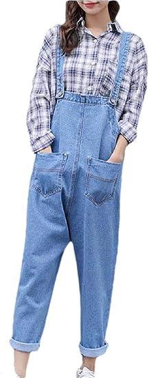 chenshiba-JP レディースクラシックビブオーバーオールズデニムジーンズパンツ調節可能なストラップロンパーパンツジャンプスーツ