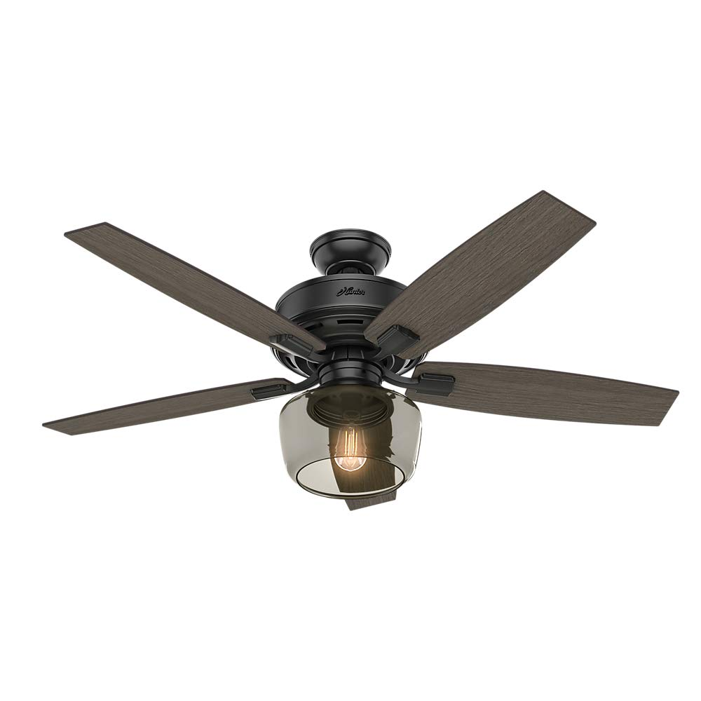 Hunter Indoor Ceiling Fan with light and remote control – Bennett 52 inch, Black, 54187