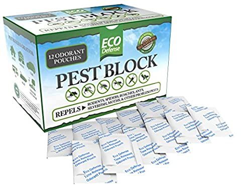 Eco Defense Pest Control Pouches - All Natural - Repels Rodents, Spiders, Roaches, Ants, Moths & Other Pests - 12 Pack - Best Mouse Trap - Pest Barrier