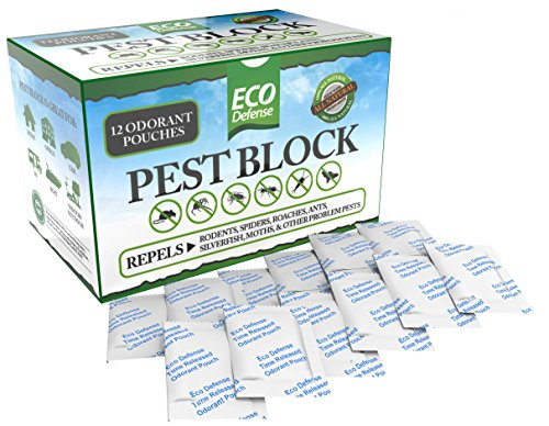 Eco Defense Pest Control Pouches - All Natural - Repels Rodents, Spiders, Roaches, Ants, Moths & Other Pests - 12 Pack - Best Mouse Trap Alternative (Snake And Mouse Best Friends)