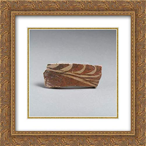 Minoan Culture - 20x20 Gold Ornate Frame and Double Matted Museum Art Print - Terracotta Vessel Fragment with Grass Motif