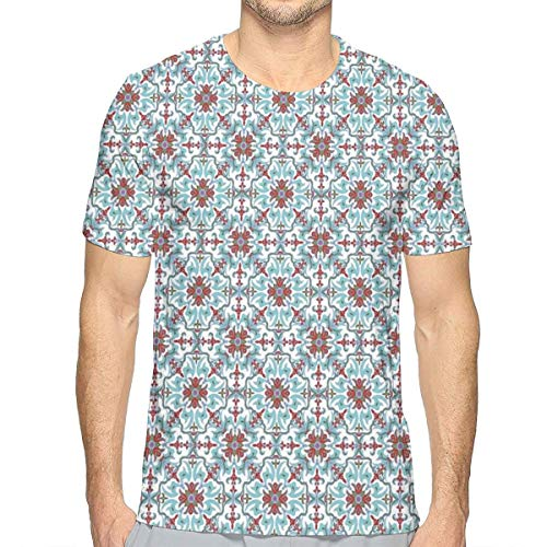 lsrIYzy 3D Printed T Shirts,Ethnic Antique Floral Pattern Italian Majolica Style Ornate Illustration