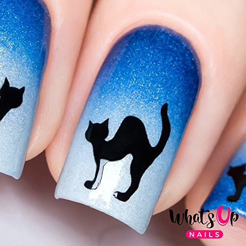 Whats Up Nails - Cat Nail Stencils Stickers Vinyls for Nail Art Design (1 Sheet, 20 Stickers & Stencils)