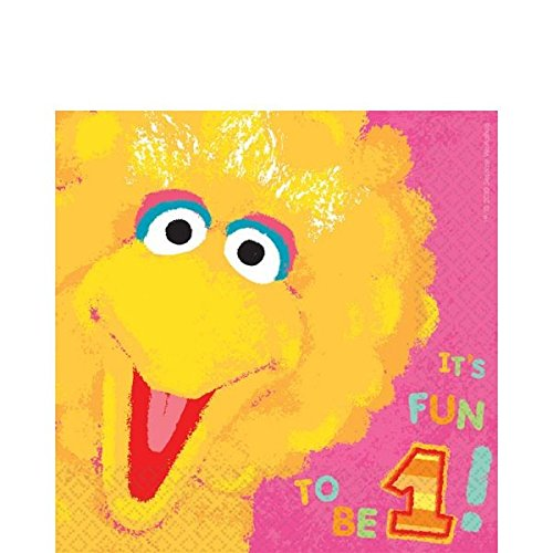 Amscan Sesame Street 1st Birthday Big Bird Luncheon Napkins Party Supplies, Small, Pink (Sesame Street Party Big Bird Lunch Napkins)