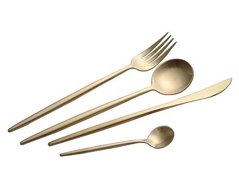 COOLWEST Cuberterías Set de 4 piezas acero inoxidable Tenedores, Cucharas, Cuchillos, Cucharillas (