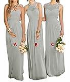 Lovelybride Pink A Line Long Chiffon Prom Bridesmaid Dress Wedding Party Dress