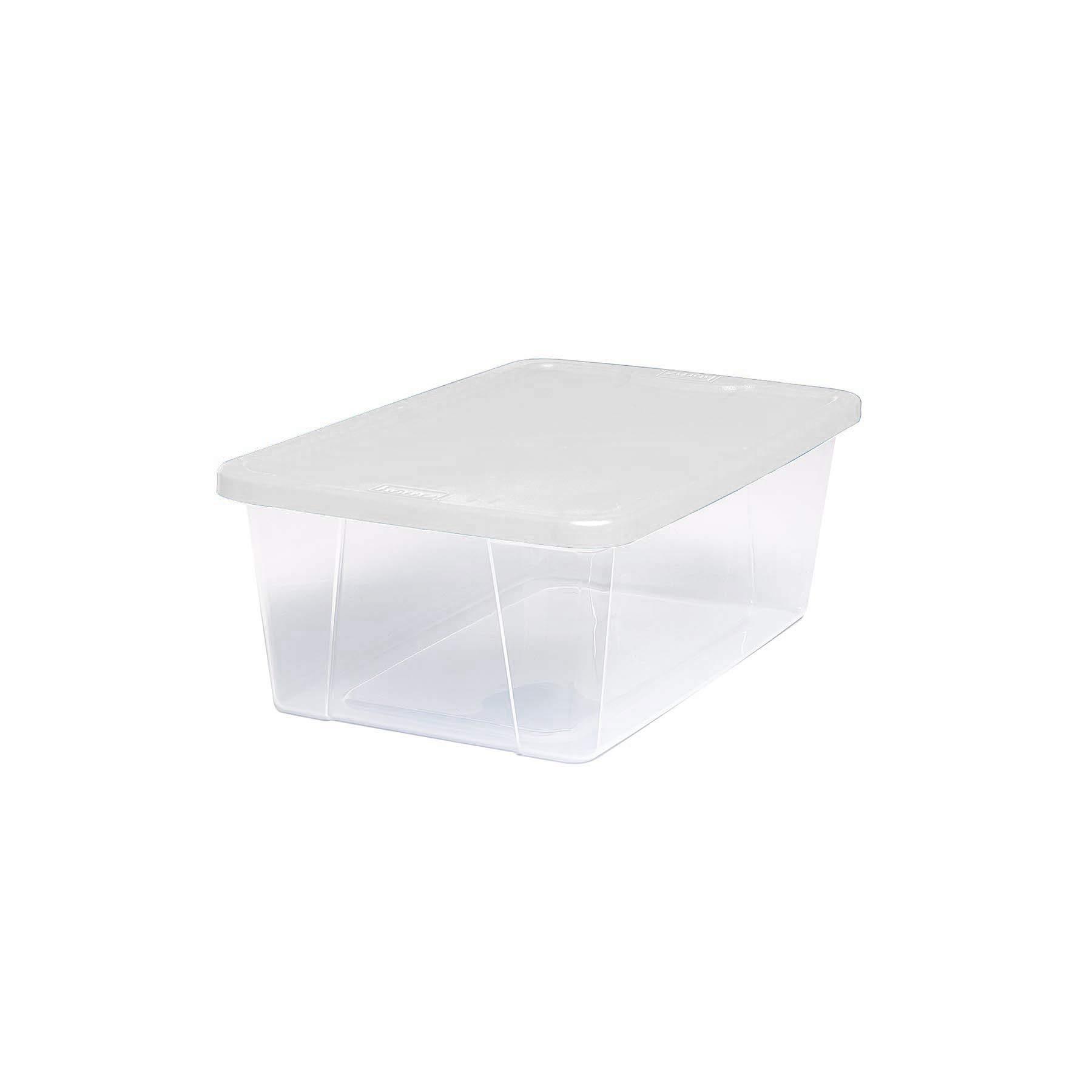 HOMZ Plastic Storage Bins, Snap Lock White Lids, 6 Quart, Clear, Stackable, 10-Pack