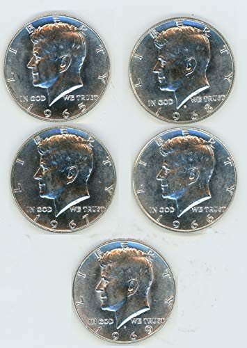 1965, 1966, 1967,1968-D, 1969-D 40% Silver Kennedy Half Dollar Lot of (5) Coins Brilliant Uncirculated (Coin Silver 1965)