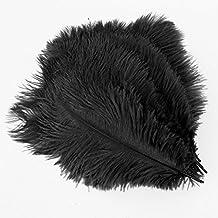 Plume - SODIAL (R) 20 x natural ostrich feather 25-30 cm black party decoration