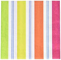 Entertaining with Caspari Awning Stripe Luncheon Napkins, Brights, Pack of 20
