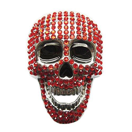 New Red Rhinestones Skull Bling Bling Belt Buckle Gurtelschnalle