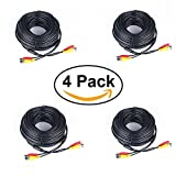 Pack of 4x 100ft Black Premade BNC Video Power Cable / Wire For Security Camera, CCTV, DVR, Surveillance System, Plug & Play (Black, 100ft)