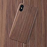 iATO iPhone X Case GOODWOOD Real WOODEN Premium Protective BookCase Cover. Unique, Stylish & Classy Walnut Wood Folio Flip Front & Back Case for iPhone X / 10 [Supports Wireless Charging]