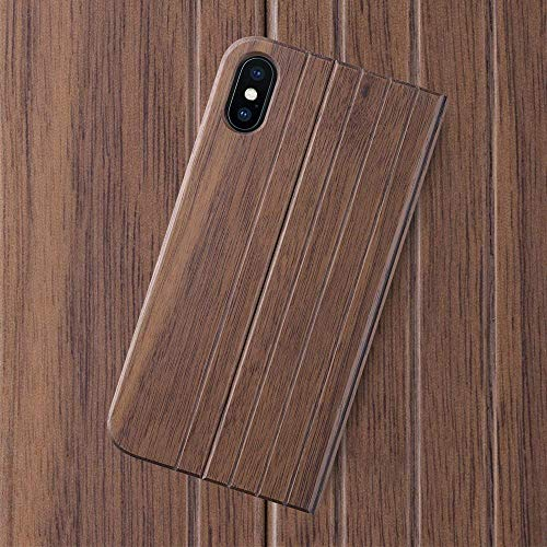 iATO iPhone X Case GOODWOOD Real WOODEN Premium Protective BookCase Cover. Unique, Stylish & Classy Walnut Wood Folio Flip Front & Back Case for iPhone X / 10 [Supports Wireless Charging] by iATO